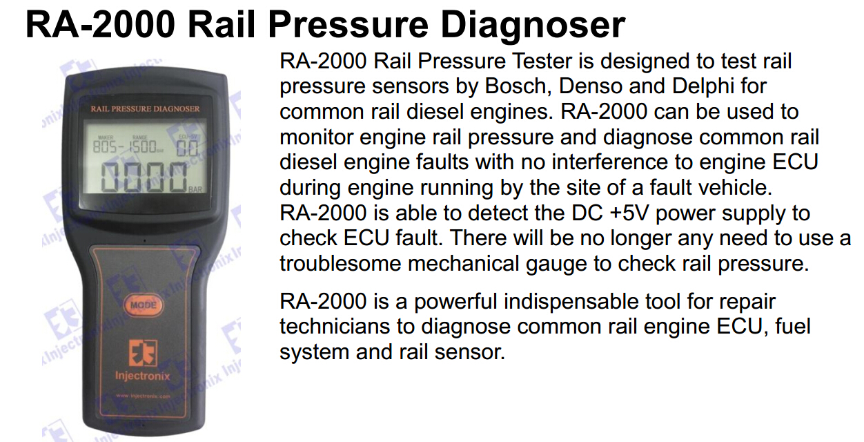 RA2000 Common rail pressure sensor diagnoser simulator