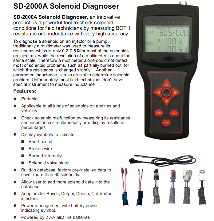 SD-2000A solenoid diagnoser on-site diagnose engine faults